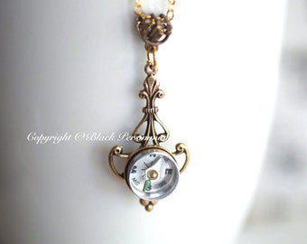 Compass Jolie Necklace - Working Compass - Made in USA Findings - Antique Gold - Insurance Included