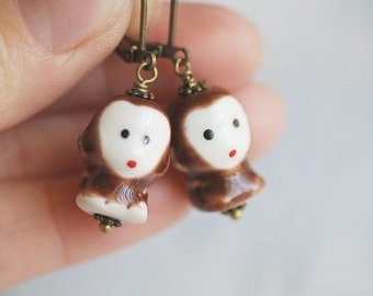 Three Wise Monkeys Necklace - See, Hear, Speak No Evil SOLDERED  - Made in USA Findings