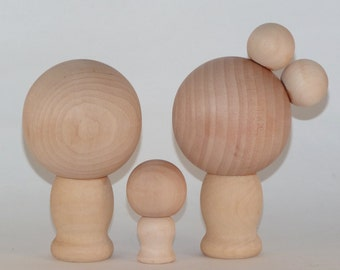 Do It Yourself Wood Kokeshi Dolls Extra Large with One Small Doll