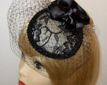 Custom Made Veiled Cocktail Hat By Taissa Lada Designs,Vintage Inspired Hat,Pancake Hat,Retro,Gothic,Prom,Pin Up,Glam