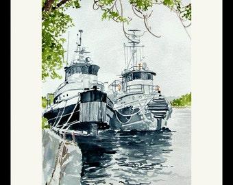 Kingston Tugboats Artist Signed Double Matted to 8x10