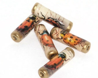 Paper Beads - Vintage Ladybirds