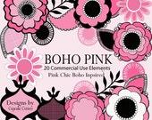 Boho PINK Whimsical Digital Clip art collection Summer- InStanT DoWnloAd