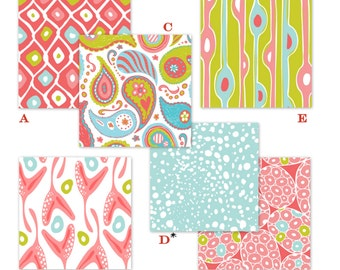 Coral, Aqua and Lime Paisley Custom Baby Crib Bedding - The Adrift Collection