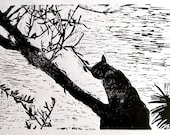 Lino print of my cat in an olive tree black and white on thick paper 4 X 6 inches an original limited edition relief print