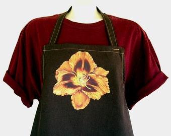 Brown Apron Hand Painted Gold Daylily Flower Maroon Eyespots Garden Kitchen Apron by AllKindsofArt