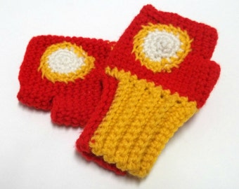 Iron Man Inspired Fingerless Mittens - Pretend Play - Boy Gift