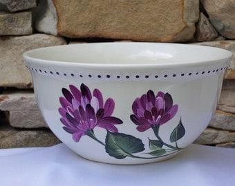 Hand Painted Ceramic Bowl with Magenta Chrysanthemums