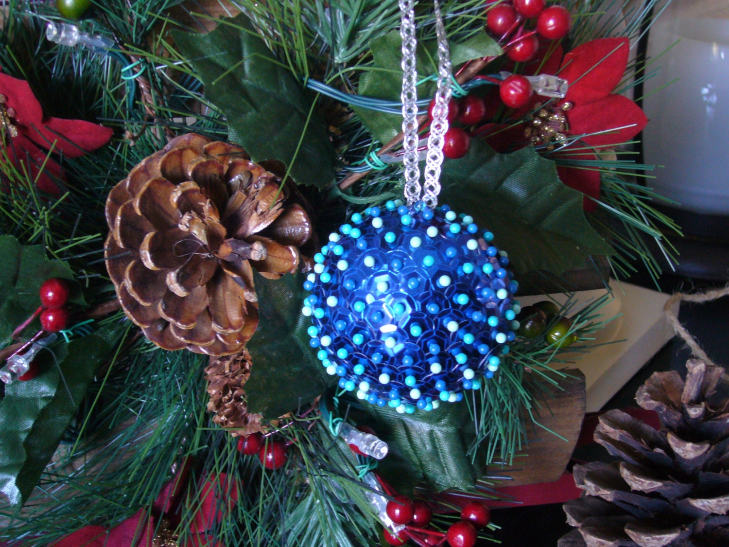 Old Fashioned Christmas Tree Sequin Ball Ornament by ...