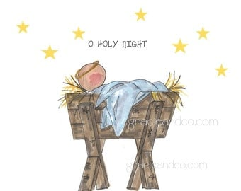 Christmas Notecard custom hand drawn manger baby Jesus Birthday notecards Christmas cards