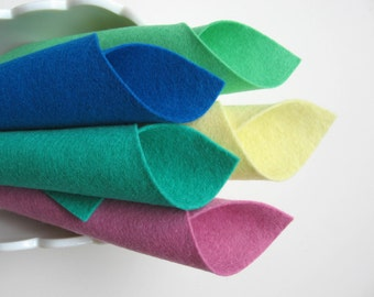 Wool Felt Sheets, Minty Sweets Color Story, Merino Felt Squares, Five Color Set, Elf Green, Rose Pink, Sea Green, Turquoise, Light Yellow