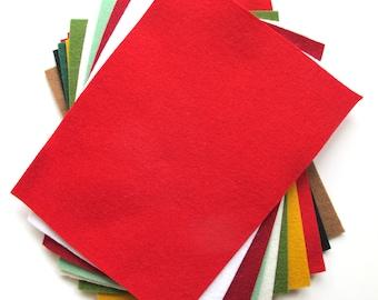 Felt Sheets, Christmas Colors, 100% Wool Felt, Set of Twelve, 6x8 Inch Sheets, Felt Assortment, DIY Holiday, Embroidery Floss, Felt Gift Set