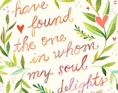 Soul Delights Art Print | Song of Songs Watercolor Quote | Inspirational Wall Art | Hand Lettering | Katie Daisy | 8x10 | 11x14
