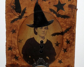 Halloween Collage on Antique Leather Book Cover - Wicked Witch