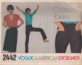 Vogue 2442 1980s Misses Designer Skinny Jeans and Slim Skirt Pattern Calvin Klein Womens Vintage Sewing Pattern Size 10  Waist 27 1/2