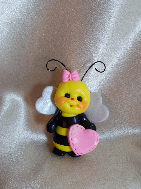 bee cake topper Christmas ornament polymer clay gift  personalized insect personalized gift