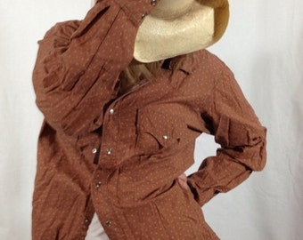 Brown Floral Western Shirt