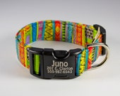 "Personalized dog collar ""Ziggy Dog"" customizable with with fiber laser engraving technology"