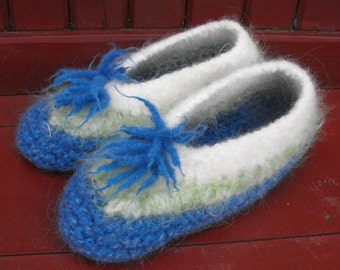Womens Wool Felted Slippers for Cottage and Travel