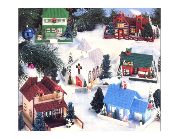 Vintage Plastic Canvas Christmas Village Pattern Book Vol. 3 Miniature Houses Church General Store