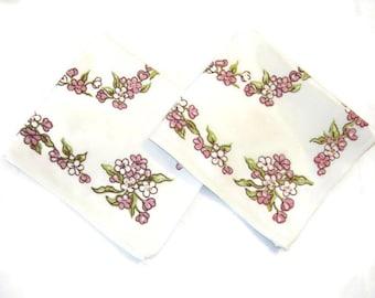 Vintage Napkins Set of 2 Springtime Pink Floral