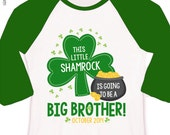 St. Patrick's Day shirt big brother to be little shamrock pregnancy announcement raglan Tshirt