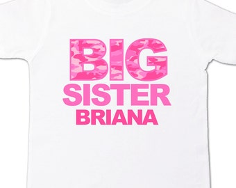 Big sister shirt- pink CAMO print personalized t-shirt