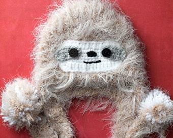 Crochet hat pattern - Hat pattern - Sloth Hat - Crochet Teen Adult Hat PDF Instant download