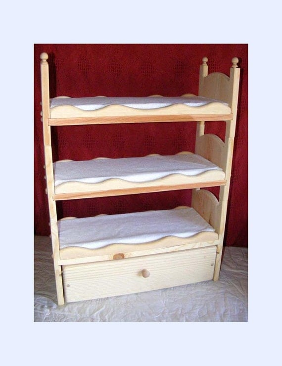 items similar to stackable american girl triple doll bunk bed with trundle scalloped sides. Black Bedroom Furniture Sets. Home Design Ideas