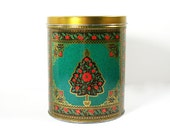 Vintage Christmas Tin, Poinsettas, Gold, Red and Turquoise