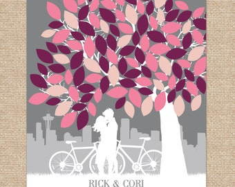 Custom Guestbook, personalized guestbook signature tree // Personalized Skyline & Couple Silhouette // 100+ Signature // W-T05-1PS HH3
