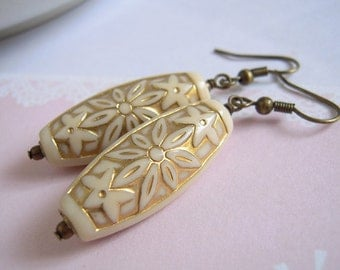 Ivory Tube Dangle Earrings Antiqued Brass Handcrafted Jewelry
