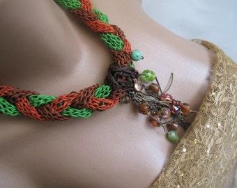 Braided  Knit Necklace ,  Tangerine Orange, Green, Brown.