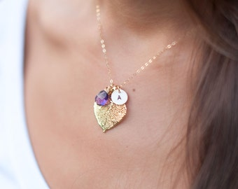 Gold dipped leaf necklace, mothers necklace, mothers day gift, initial necklace, birthstone necklace, spring wedding, semi precious jewelry