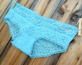 Custom BRIDAL aqua blue lace panty - Mrs, Bride, I do, YOUR name in rhinestones - size LARGE - Ships in 24hrs