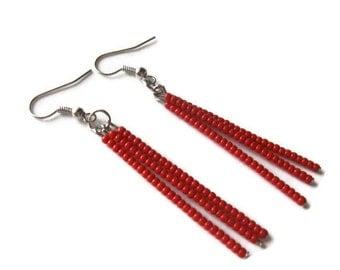 Red Seed Bead Dangle Earrings