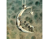 Silver Cow Jumping Over The Moon Charm Pendant