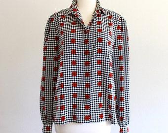 80s Nipon Houndstooth Long Sleeve Secretary Blouse Dress Collar Shirt . SM . D041 . No.360.6.25.13