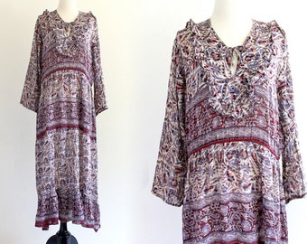 70s Rare Vintage India Indian Boho Hippie Cotton Gauze Metallic Lurex Gypsy Festival Maxi Dress . ML . No.496.9.12.13
