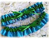 Wedding Bridal Garter Set, Turquoise Emerald Green Bridal Garters, Something Blue Bridal Accessories