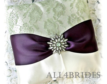 Wedding Ring Bearer Pillow Purple Plum and Sage Green wedding decorations.