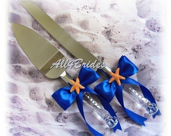 Royal blue starfish wedding cake knife and server set, beach wedding accessories.