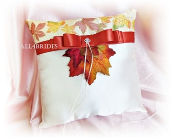 Ring bearer pillow Fall Autumn weddings, fall leaves and and burnt orange/persimmon ring pillow