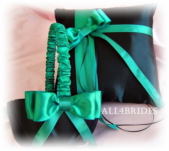 Black and Jade ring bearer pillow and flower girl basket, wedding ring cushion and basket set.