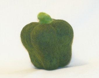 Needle Felted - Green Pepper - Felt food - Vegetable - Kitchen Decor - Play Food - Soft Sculpture - Home Decor - Needlefelt Green Pepper