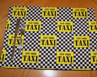 New york city fabric taxi Cab Placemat PLACEMATS
