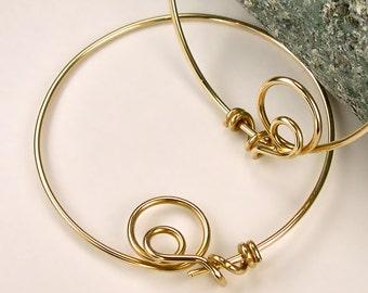 Large Gold Hoops, 14K Gold-filled Hoop Earrings, Unique Original Modern Locking Design