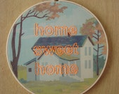 Embroidered Home Sweet Home on House Paint by Number Fabric Hoop
