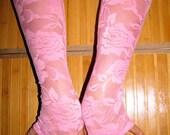 Mori Girl Pixie Pink September Lace Fingerless Gloves Arm Warmers