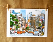 New York Manhattan Art NYC Art Taxi Cabs 12x16 New York City Large Archival Print Cityscape, by Gwen Meyerson